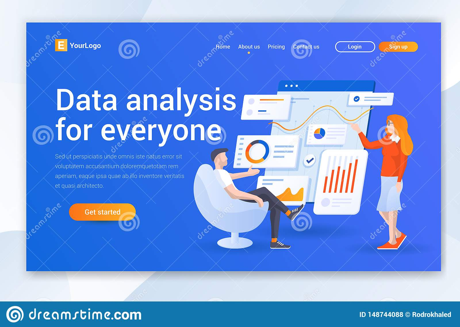 Datenanalyse-Firmenlandungs-Seiten-Entwurf Moderne flache Entwurfsillustrationskonzepte des Webseitenentwurfs f?r Website