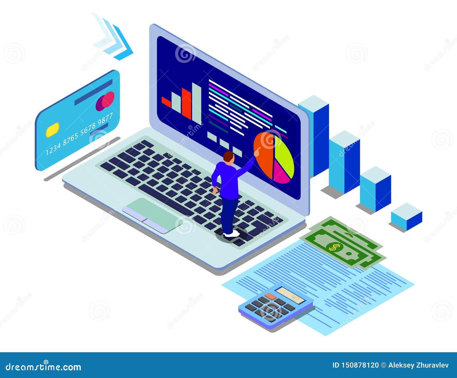 Datenanalytik-Konzeptfahne Kann f?r Netzfahne, infographics, Heldbilder verwenden Flache isometrische Vektorillustrationen