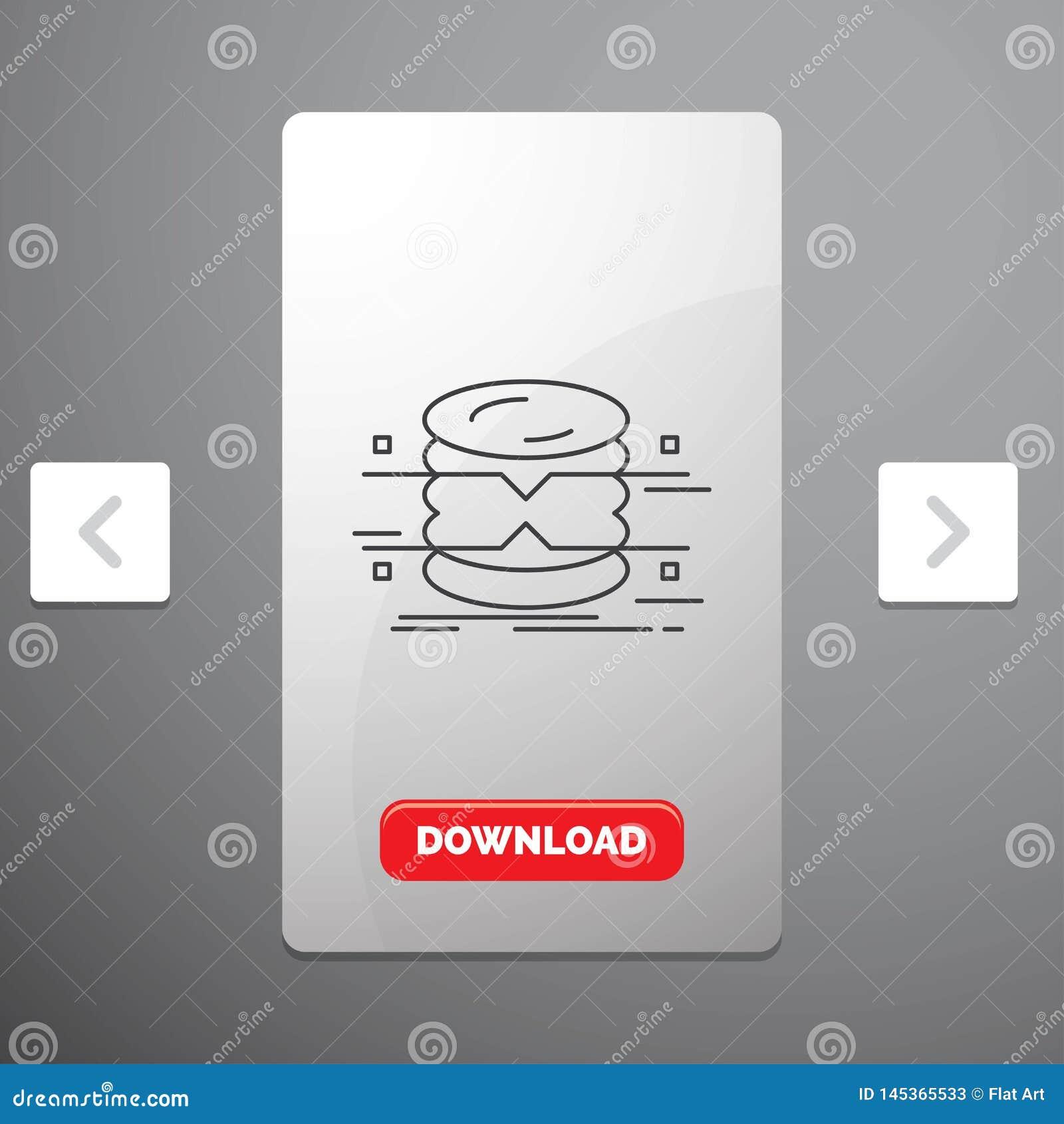 Datenbank, Daten, Architektur, infographics, Linie Ikone im Carousals-Paginierungs-Schieber-Entwurf u. im roten Download-Knopf üb