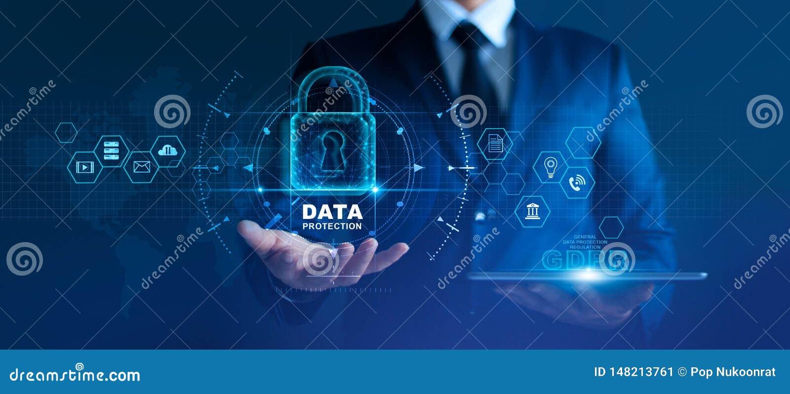Datenschutz-Privatlebenkonzept GDPR EU Internetsicherheitsnetz Sch?tzende Daten des Gesch?ftsmannes