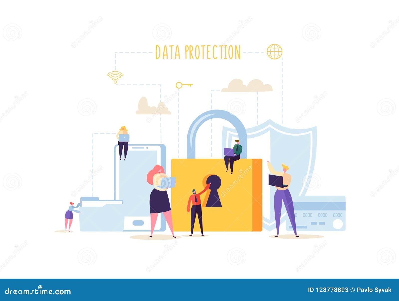 Datenschutz-Privatlebenkonzept Vertrauliche und sichere Internet-Technologien mit Charakteren unter Verwendung der Computer und d