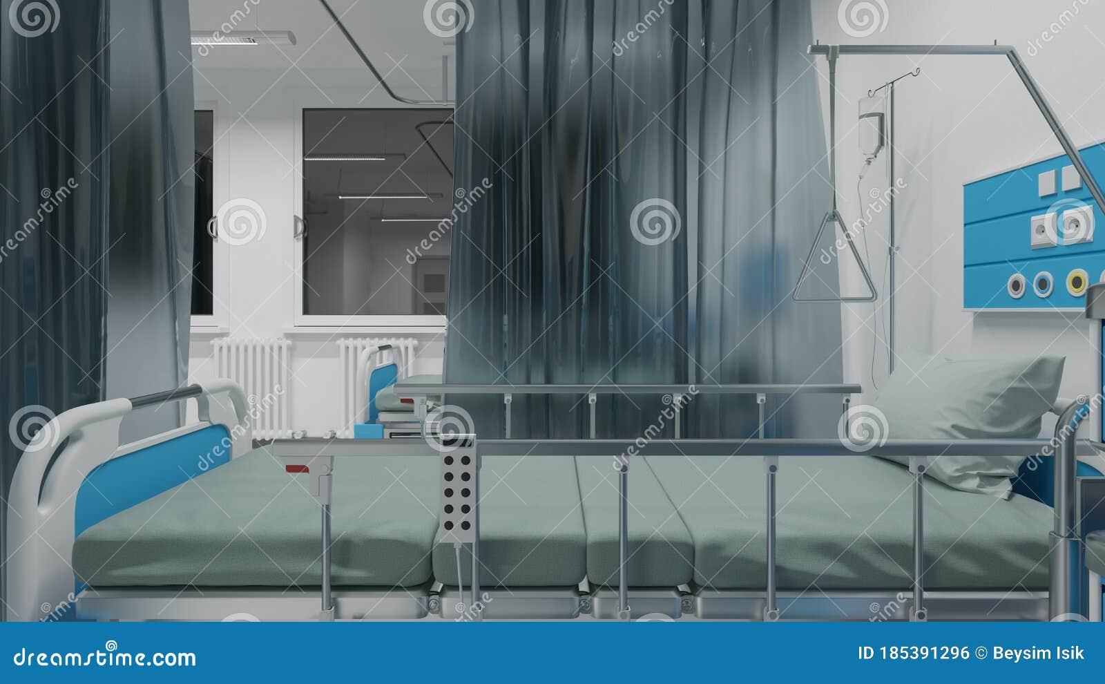 Datenzugriffsseiten Ansicht Von Medizinischen Betten Am Fenster In Der Nachtzeit Stock Abbildung ...