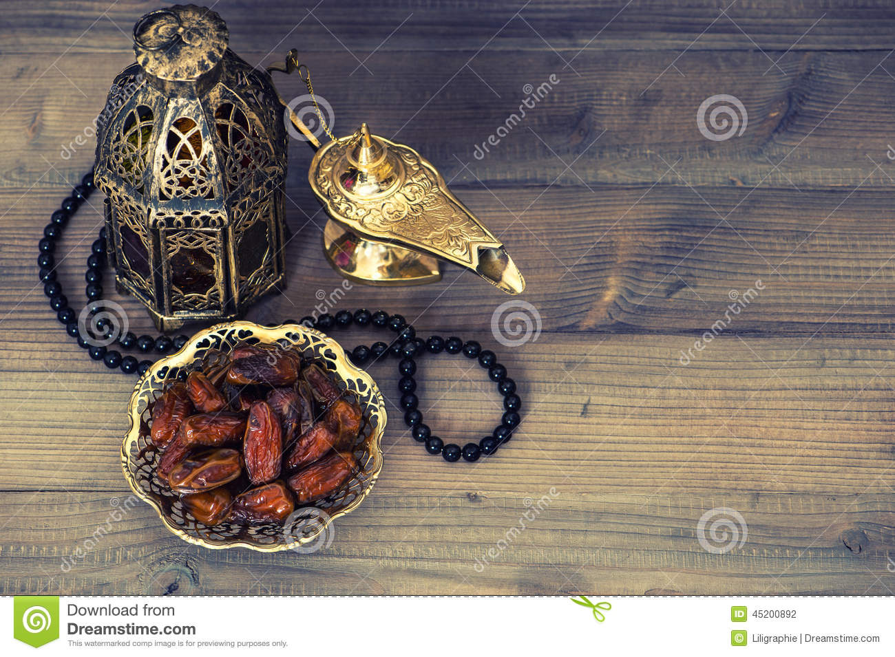 Dates, arabian lantern and rosary. Ramadan decoration