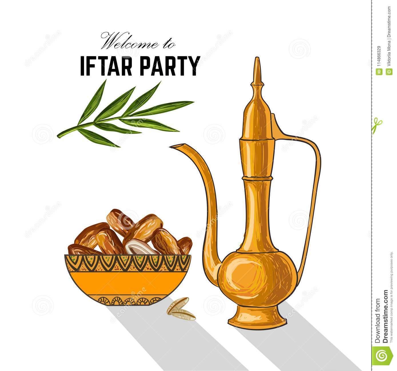 Dates For Iftar Party. Hand Drawn Stock Vector ...