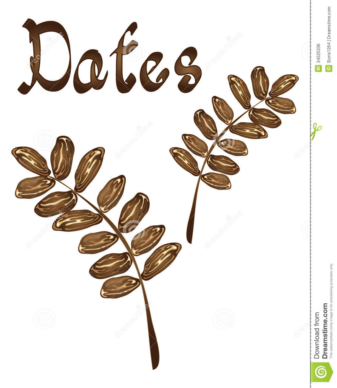 An illustration of dates in a leaf design on a white background with ...