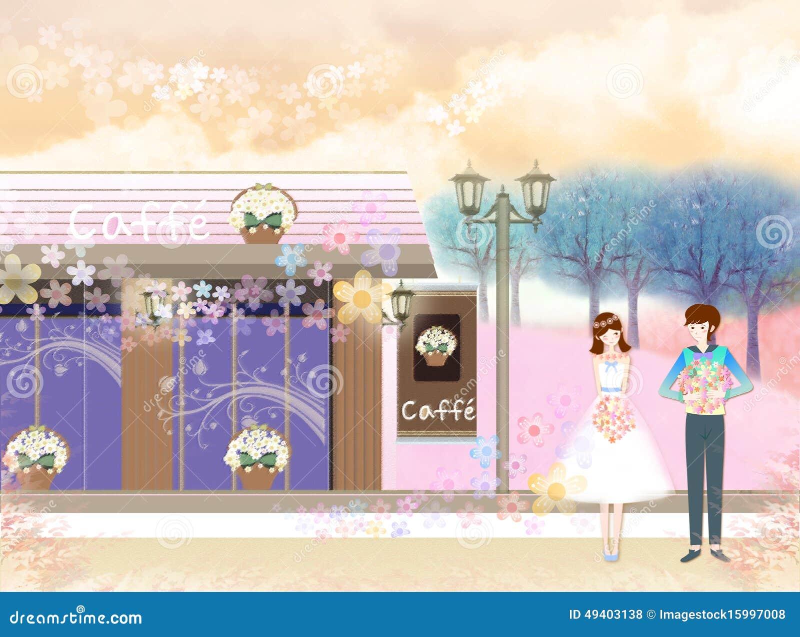 Download Datierungspaare stock abbildung. Illustration von kaffee - 49403138