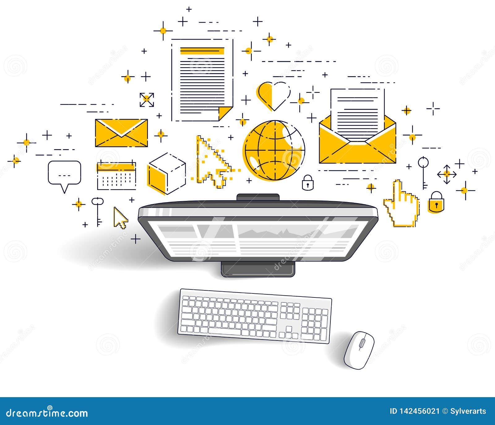 Dator med statistikinfographicsen och uppsättningen av symboler, online-affär, elektroniska finanser för internet