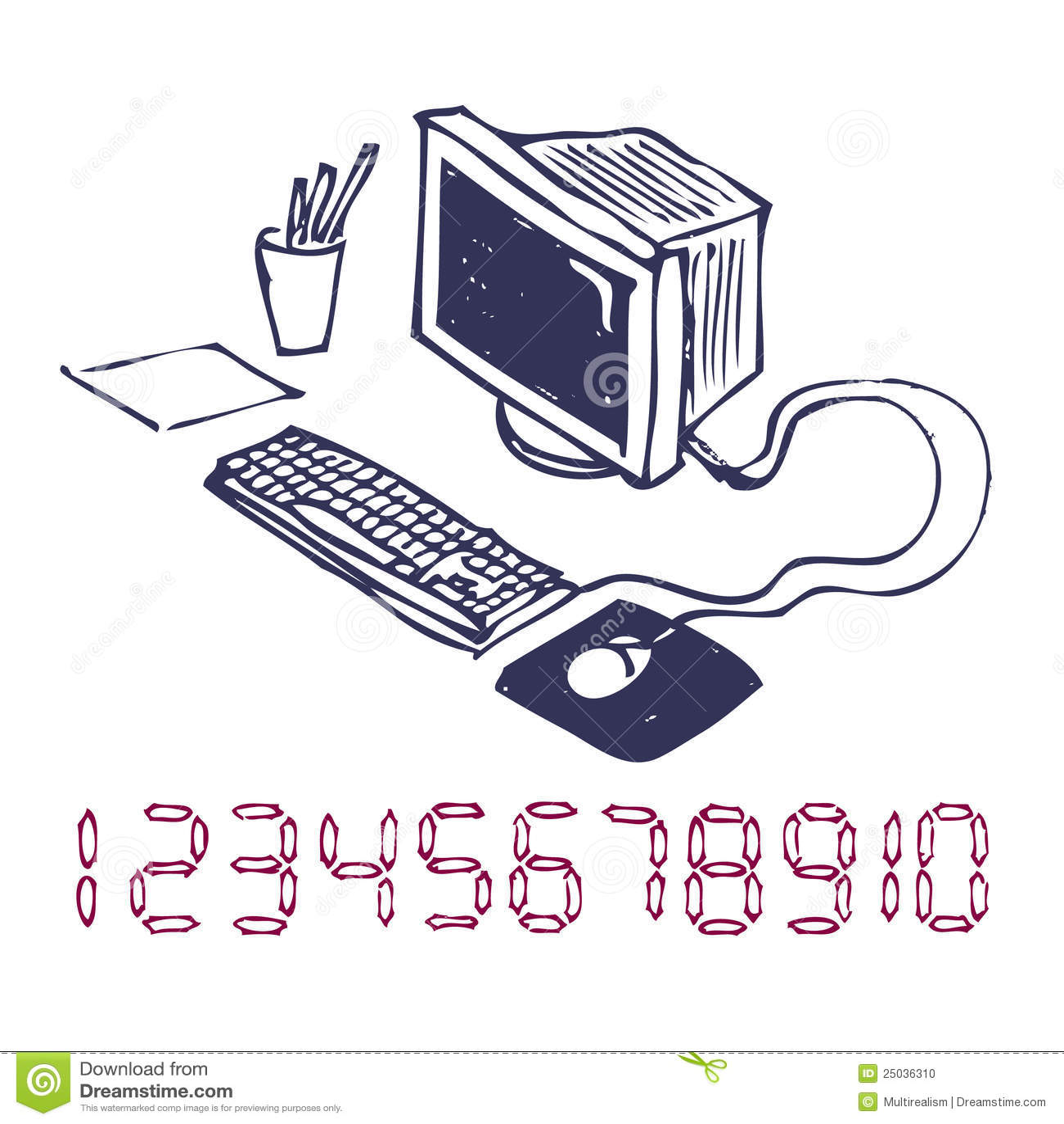 Dator tecknad hand