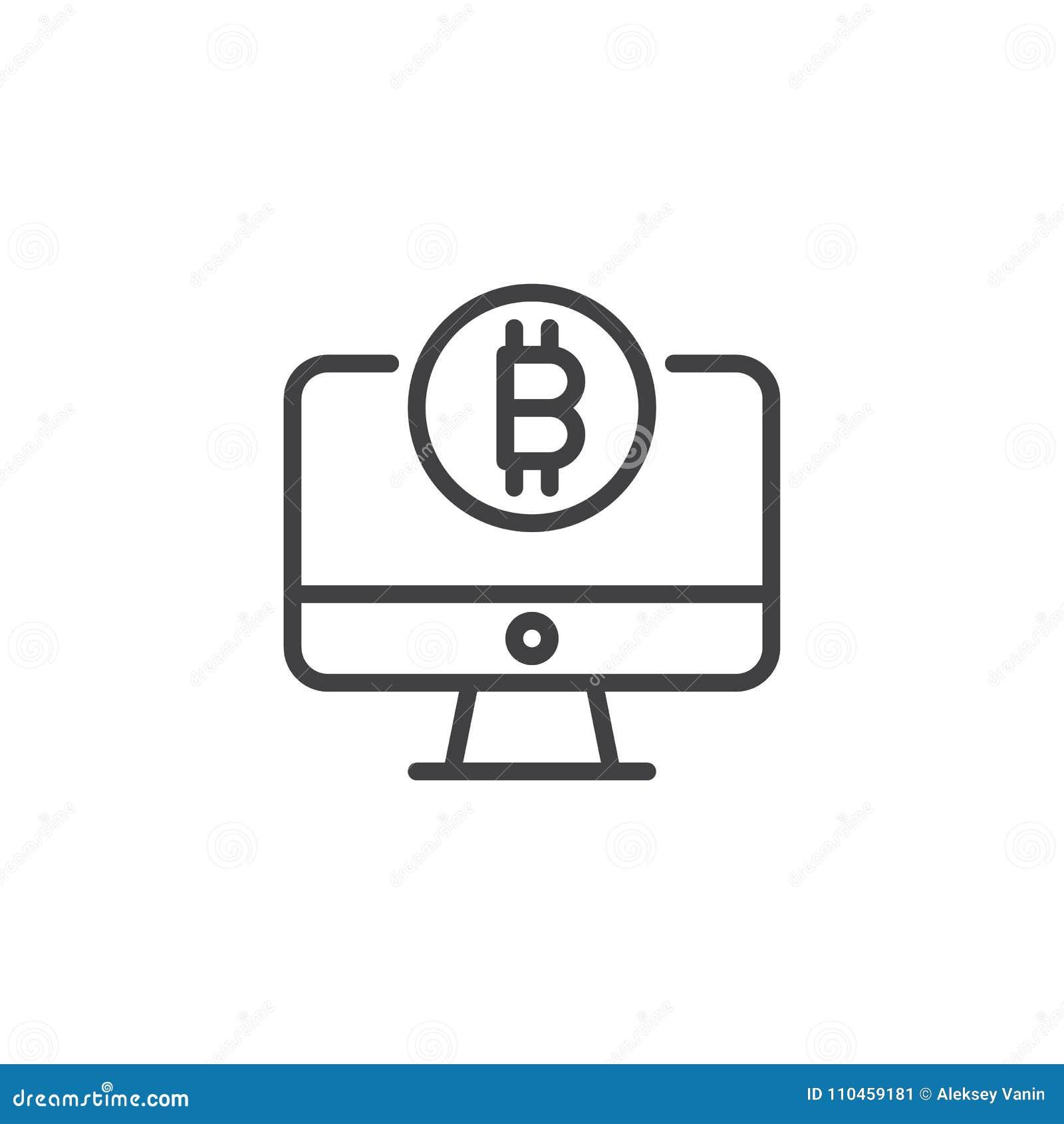 Datorbildskärm med bitcoinöversiktssymbolen