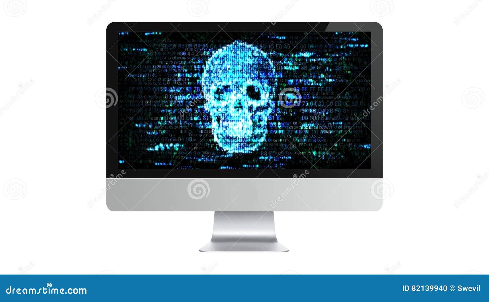Datoren är bruten Hacka förtrolig information En hacker på internet