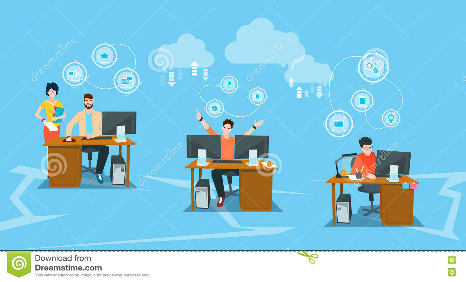 Datorer för arbete för kontor för arbetsplats för grupp för affärsfolk skrivbords-
