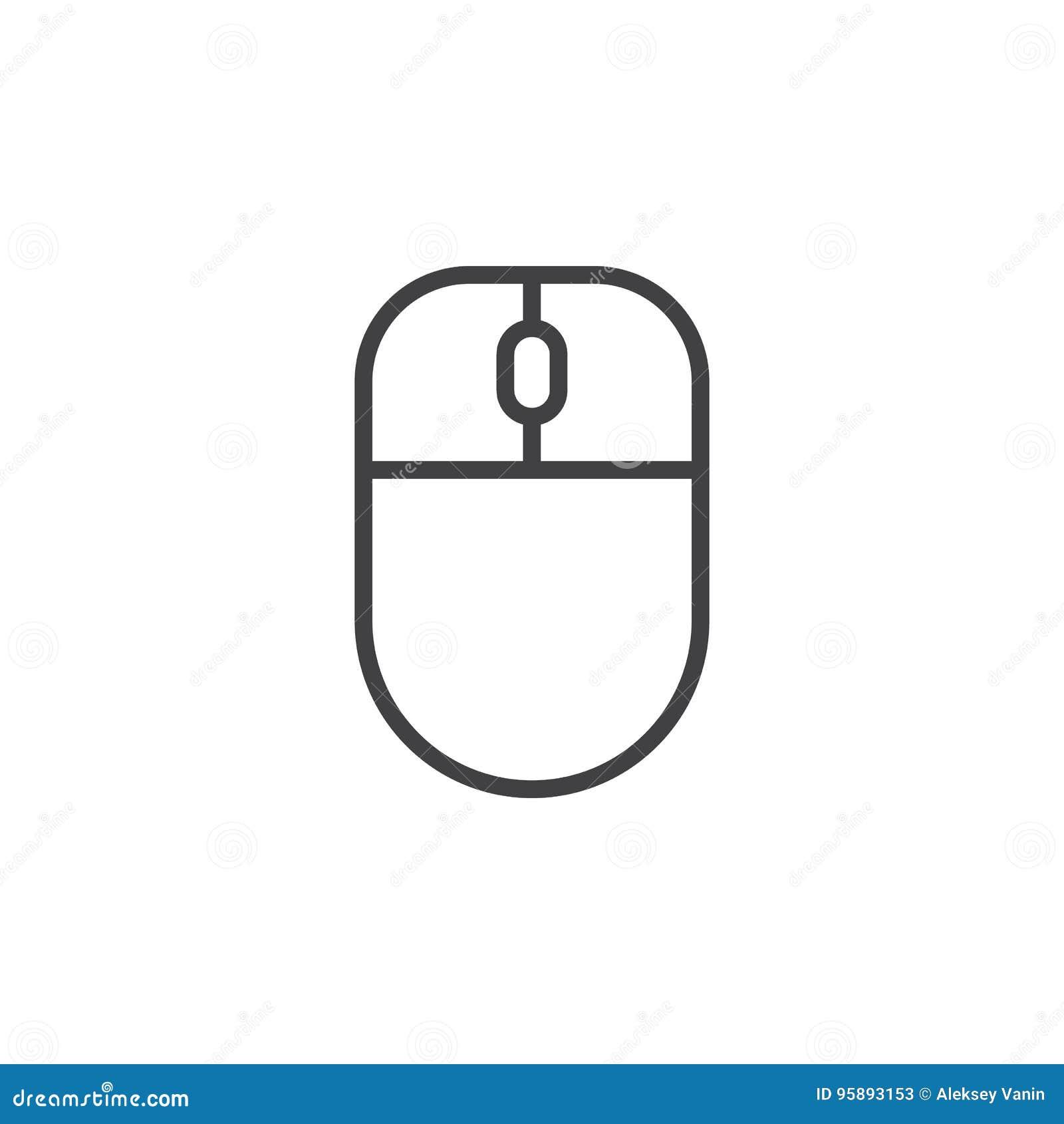 Datormuslinje symbol, översiktsvektortecken, linjär stilpictogram som isoleras på vit