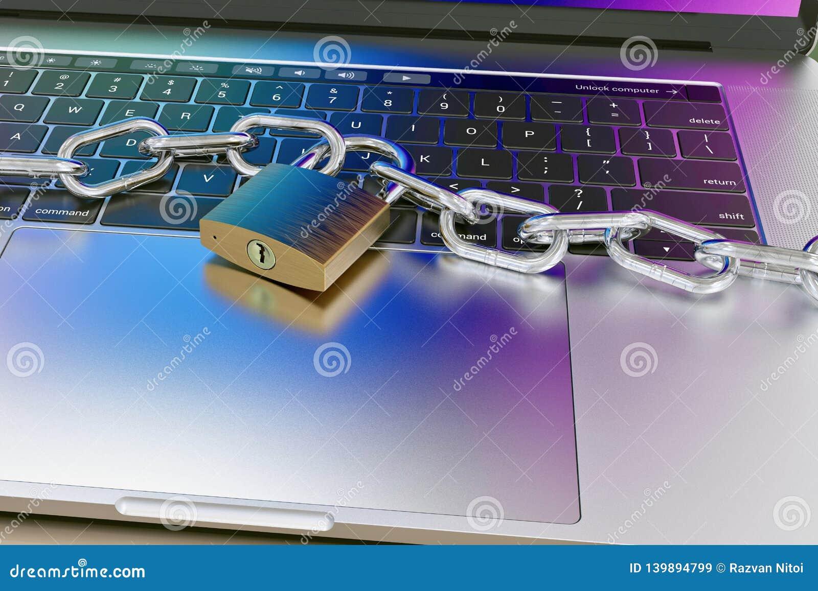 Datortangentbordet låste med hänglåset och kedjan - säkerhet