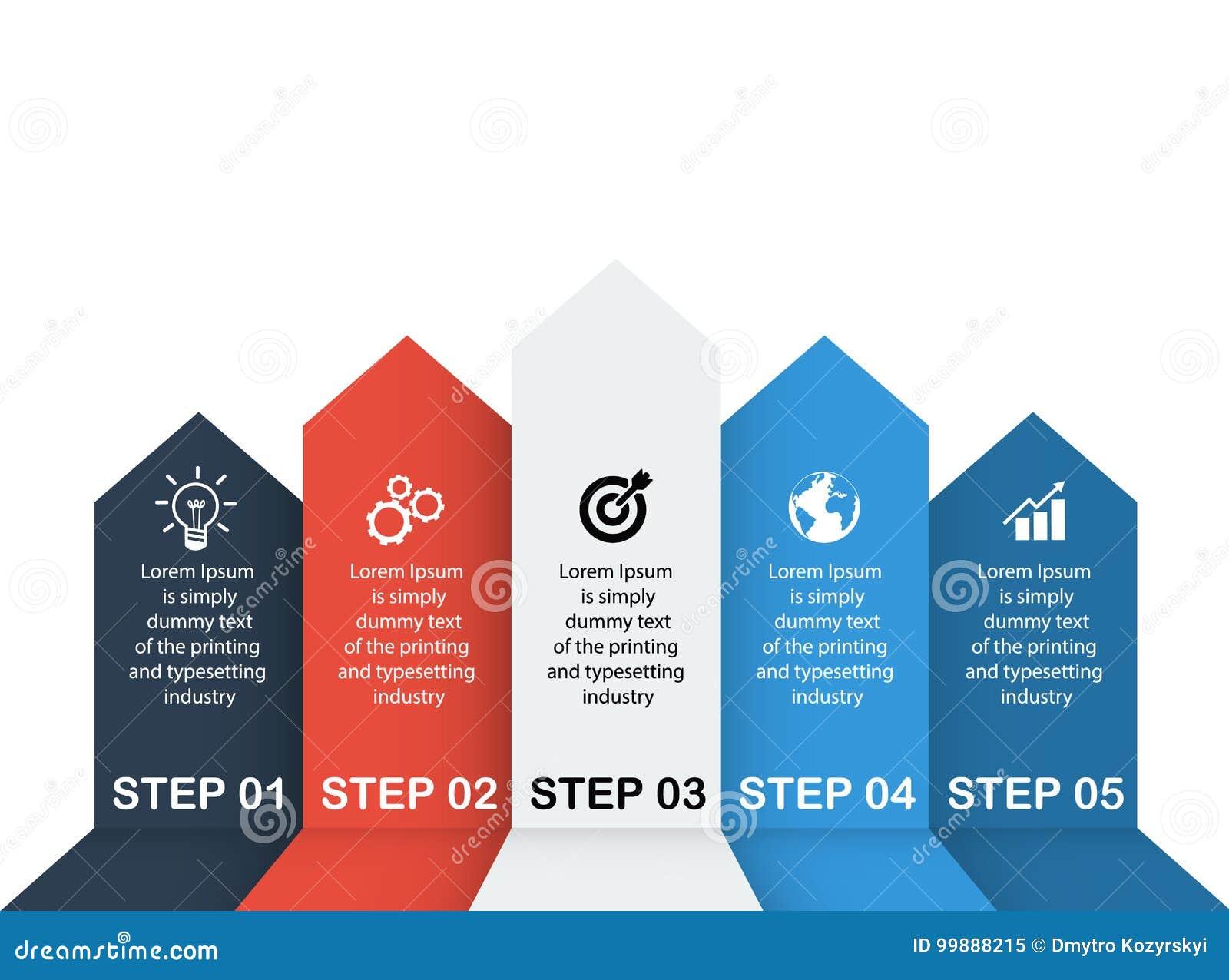 Datos de negocio, carta Elementos abstractos del gráfico, del diagrama con 5 pasos, de la estrategia, de las opciones, de las pie