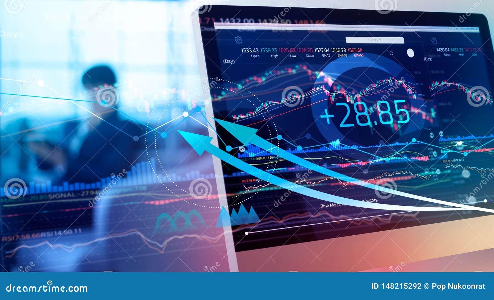 Datos financieros sobre un monitor Aumento y beneficios del mercado de la inversión y de acción con las cartas del gráfico, diagr