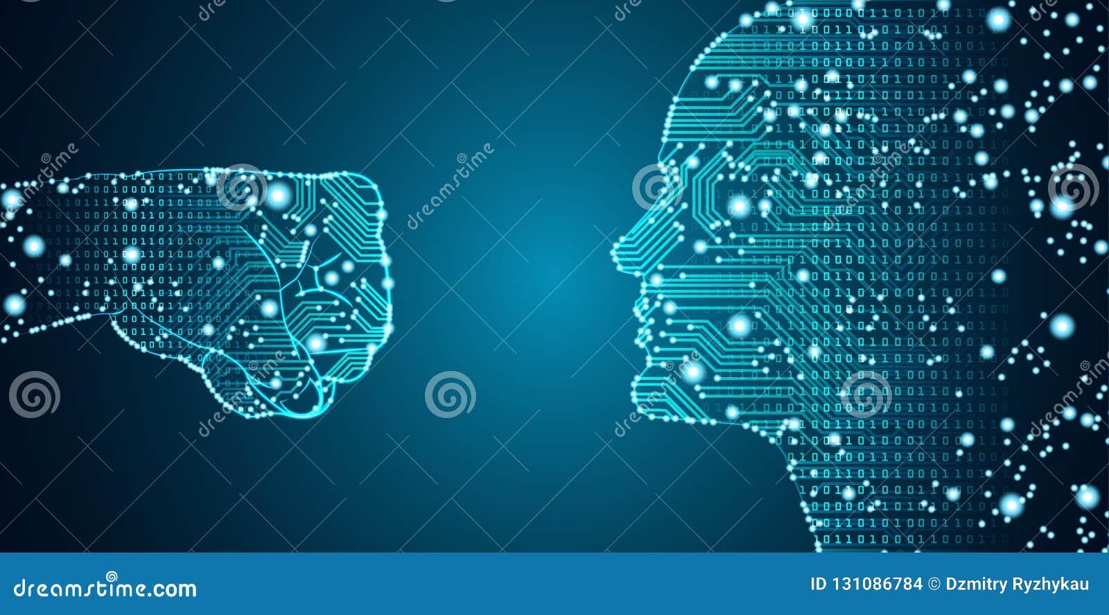 Datos grandes e inteligencia artificial que cortan concepto