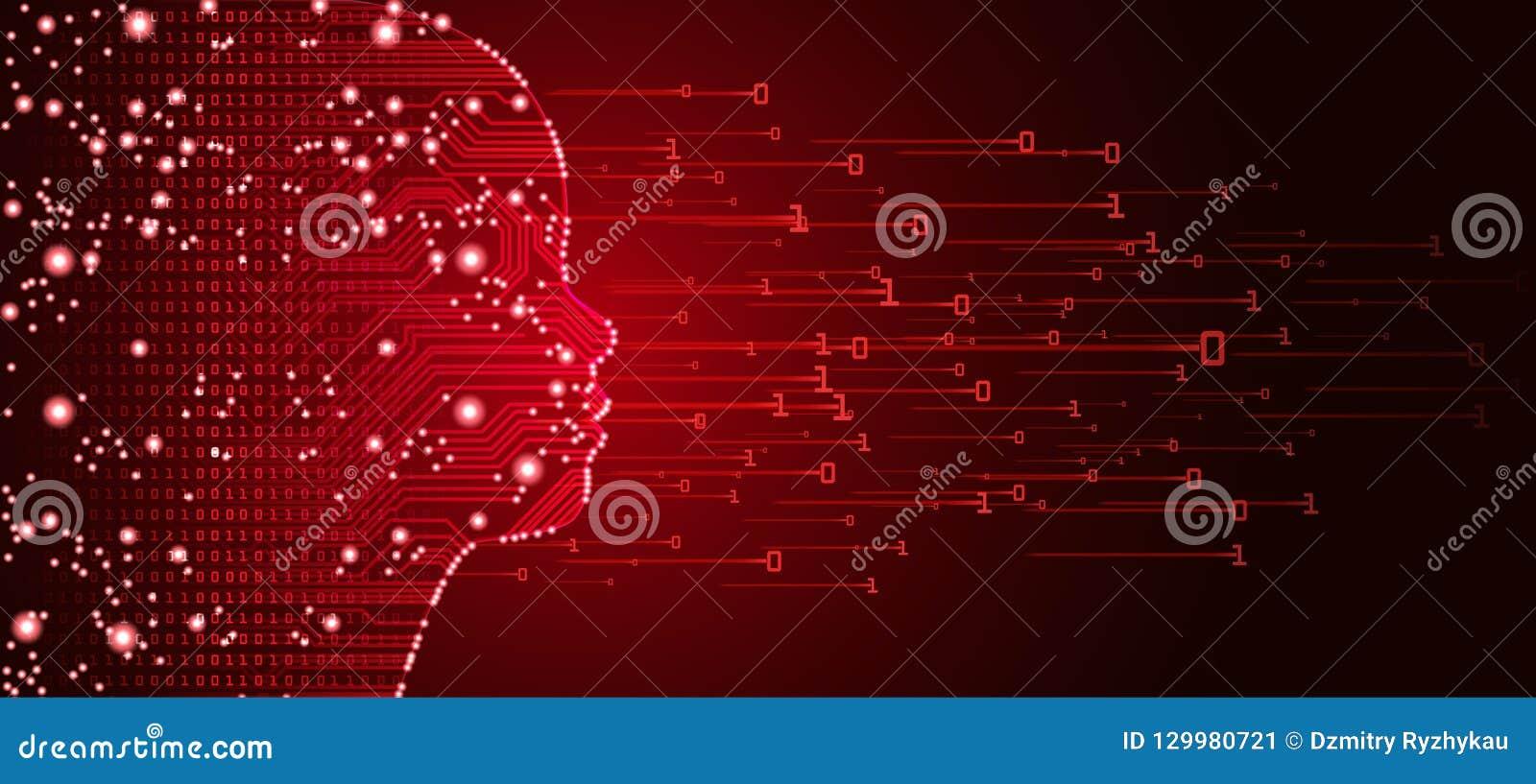 Datos y concepto grandes de la cara del niño de la inteligencia artificial