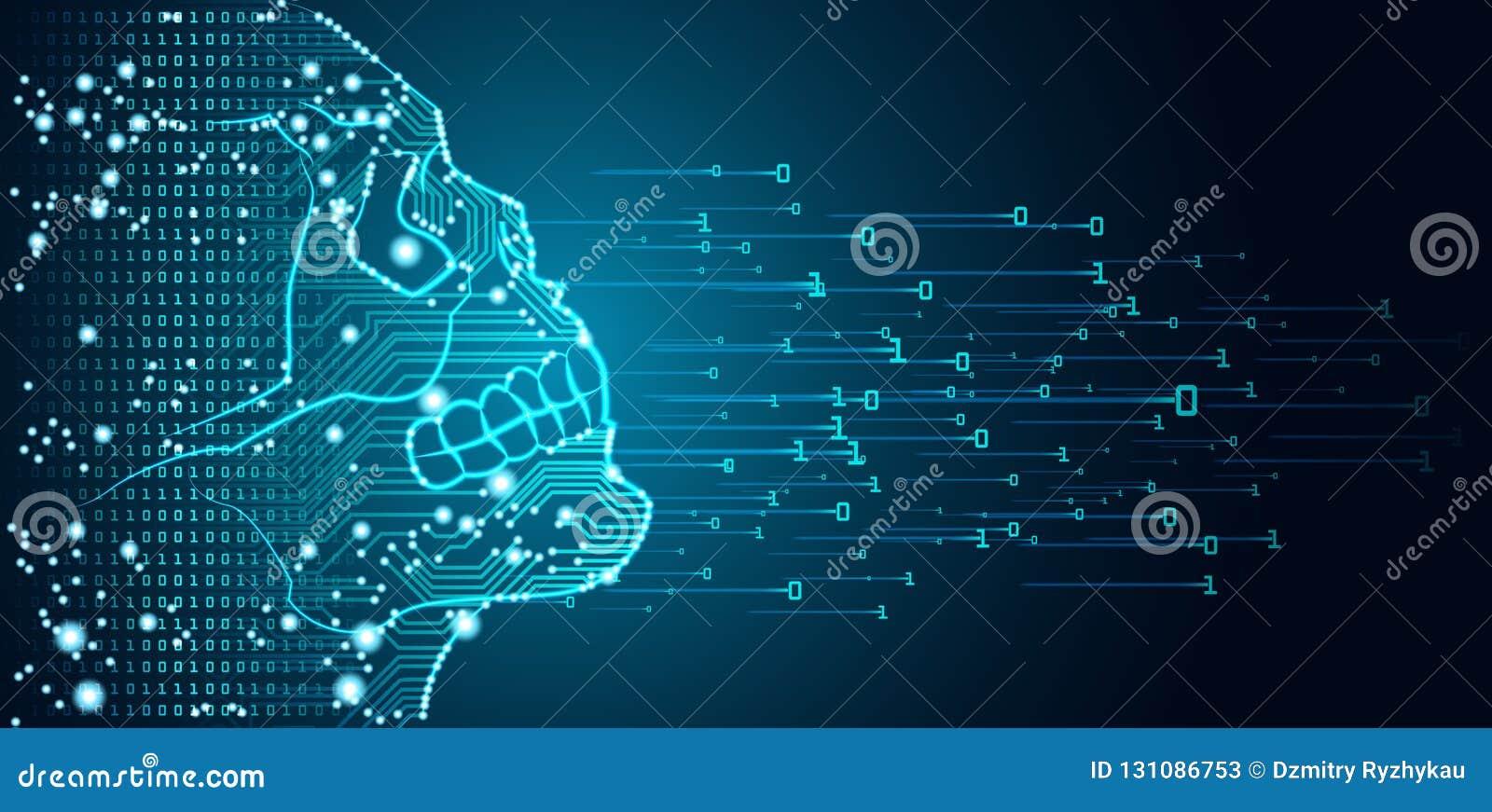 Datos y concepto grandes del peligro de la inteligencia artificial