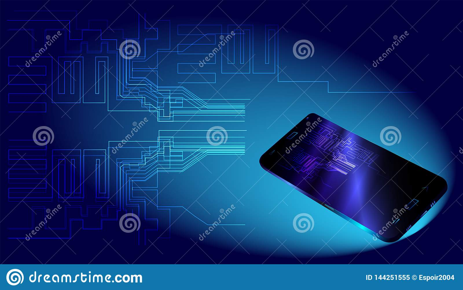 Datos y smartphone grandes en fondo azul