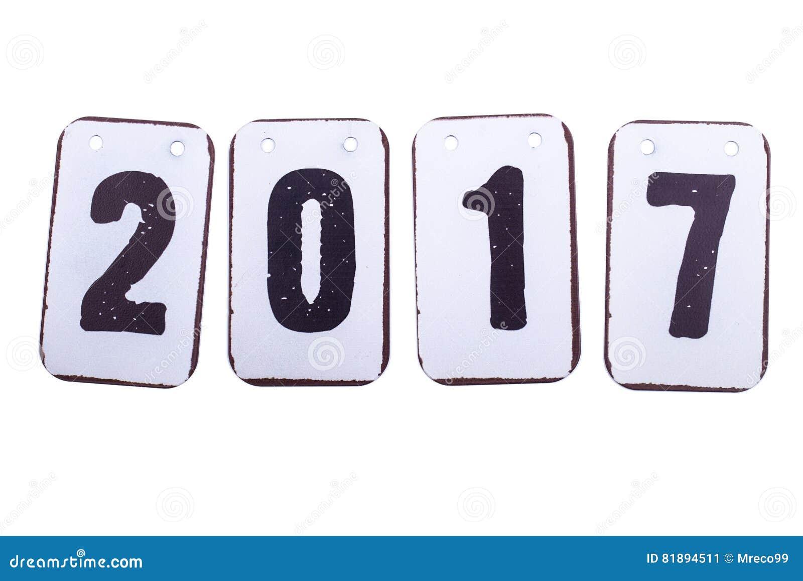 Datum des Jahres 2017 in den Metallfliesen lokalisiert