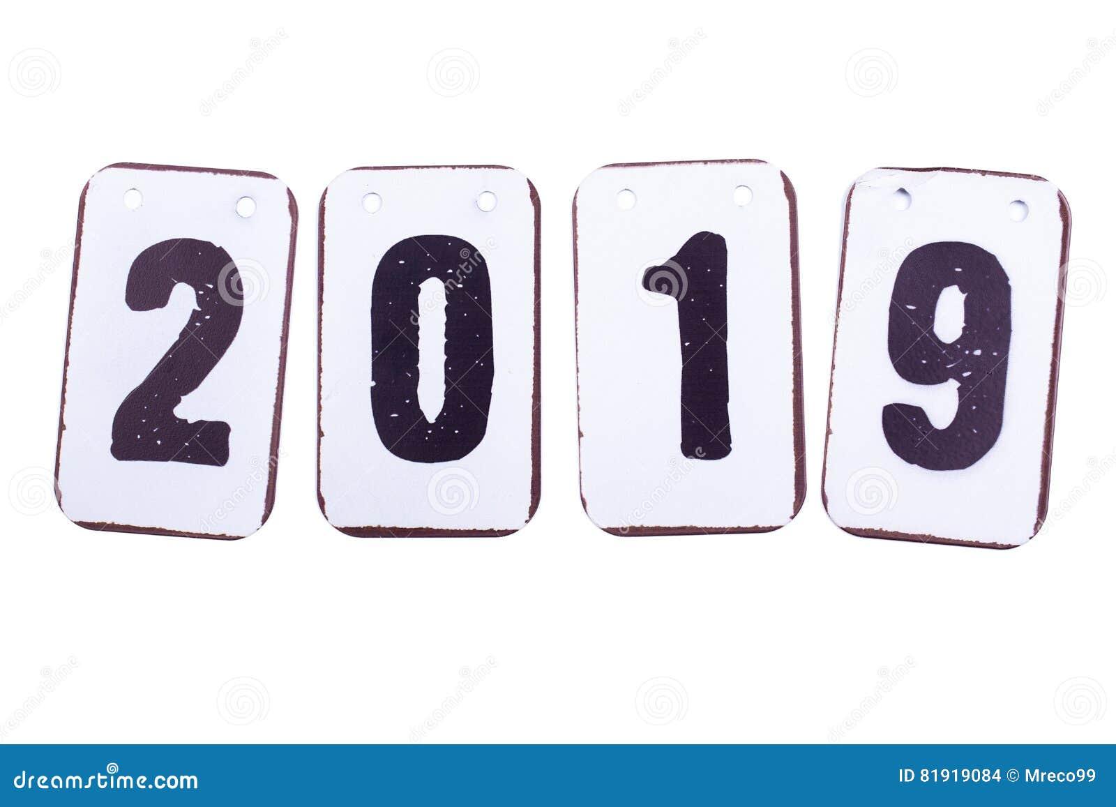 Datum des Jahres 2019 in den Metallfliesen lokalisiert