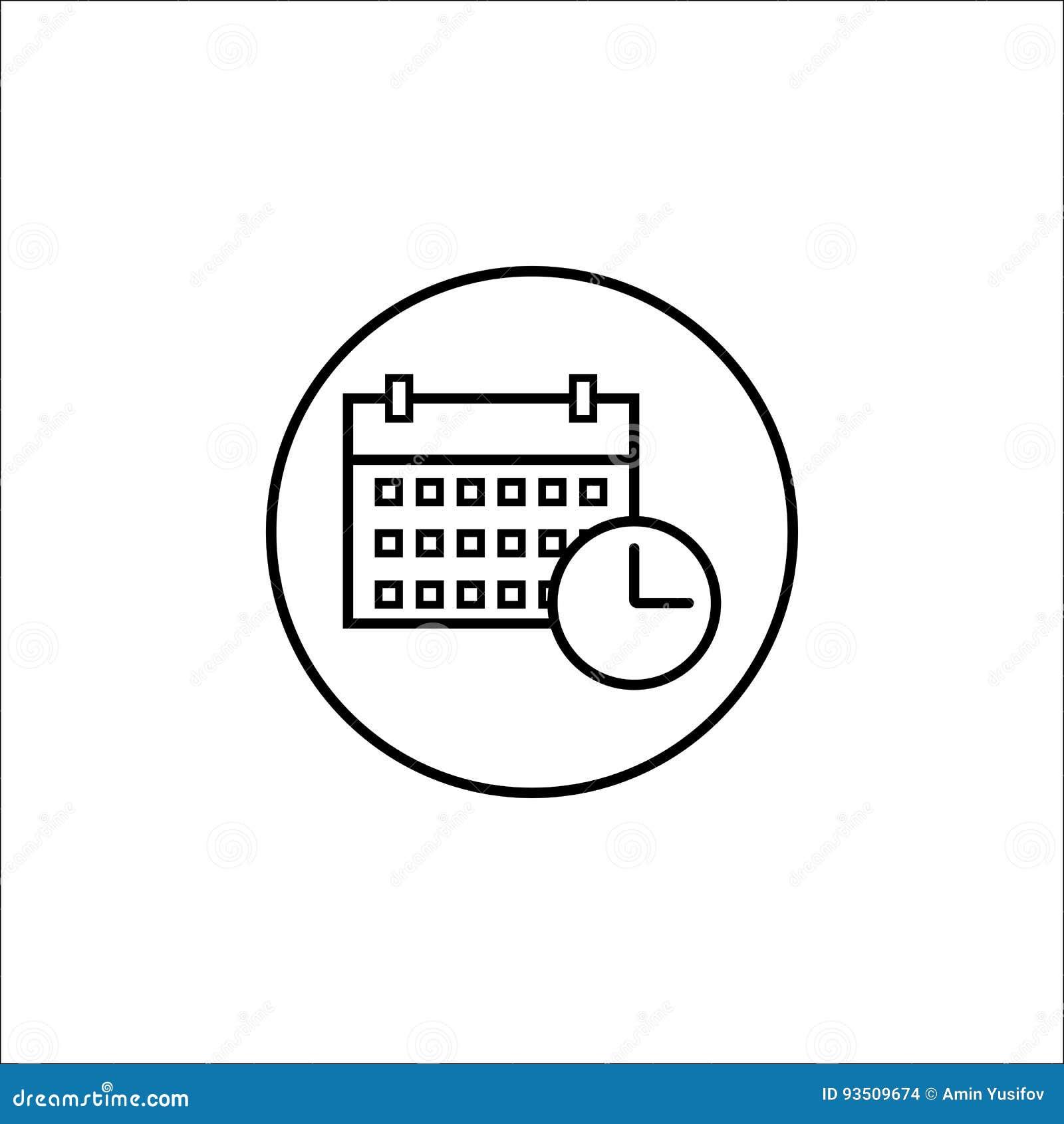 Datum- och tidslinjesymbol, mobilt tecken och kalender