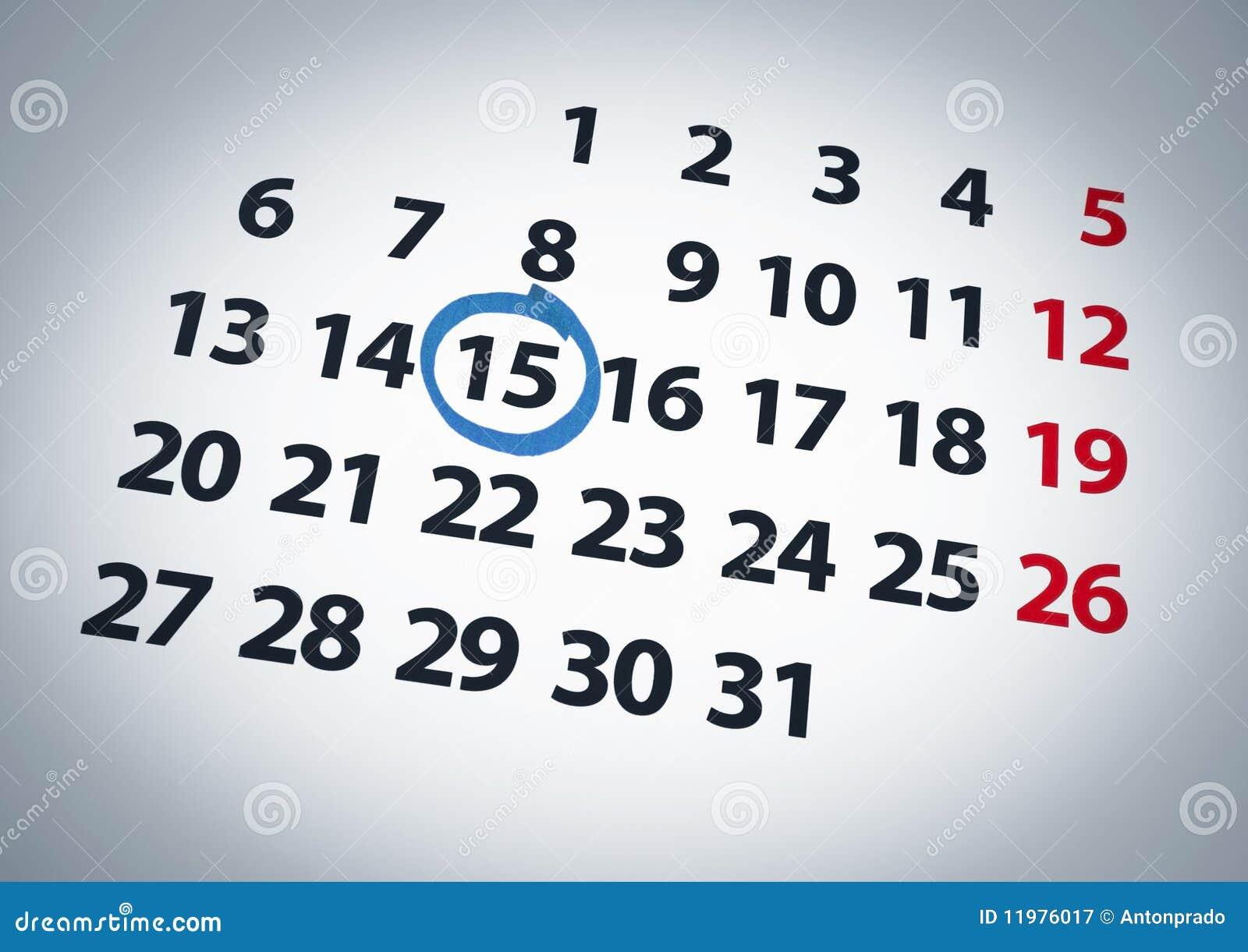 Datum op de vijftiende
