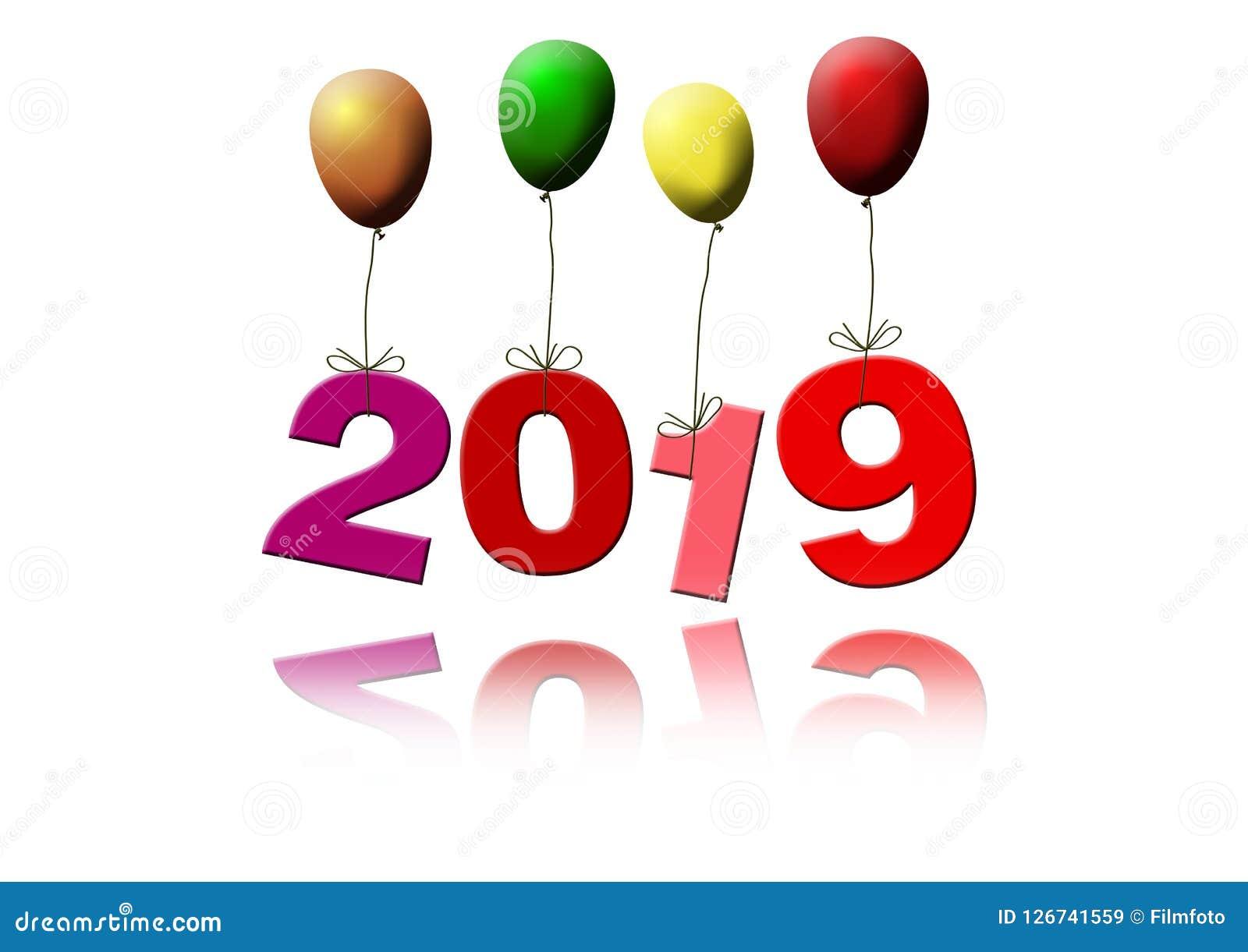 Datum 2019 som för ` s för nytt år flyger med färgrika ballonger