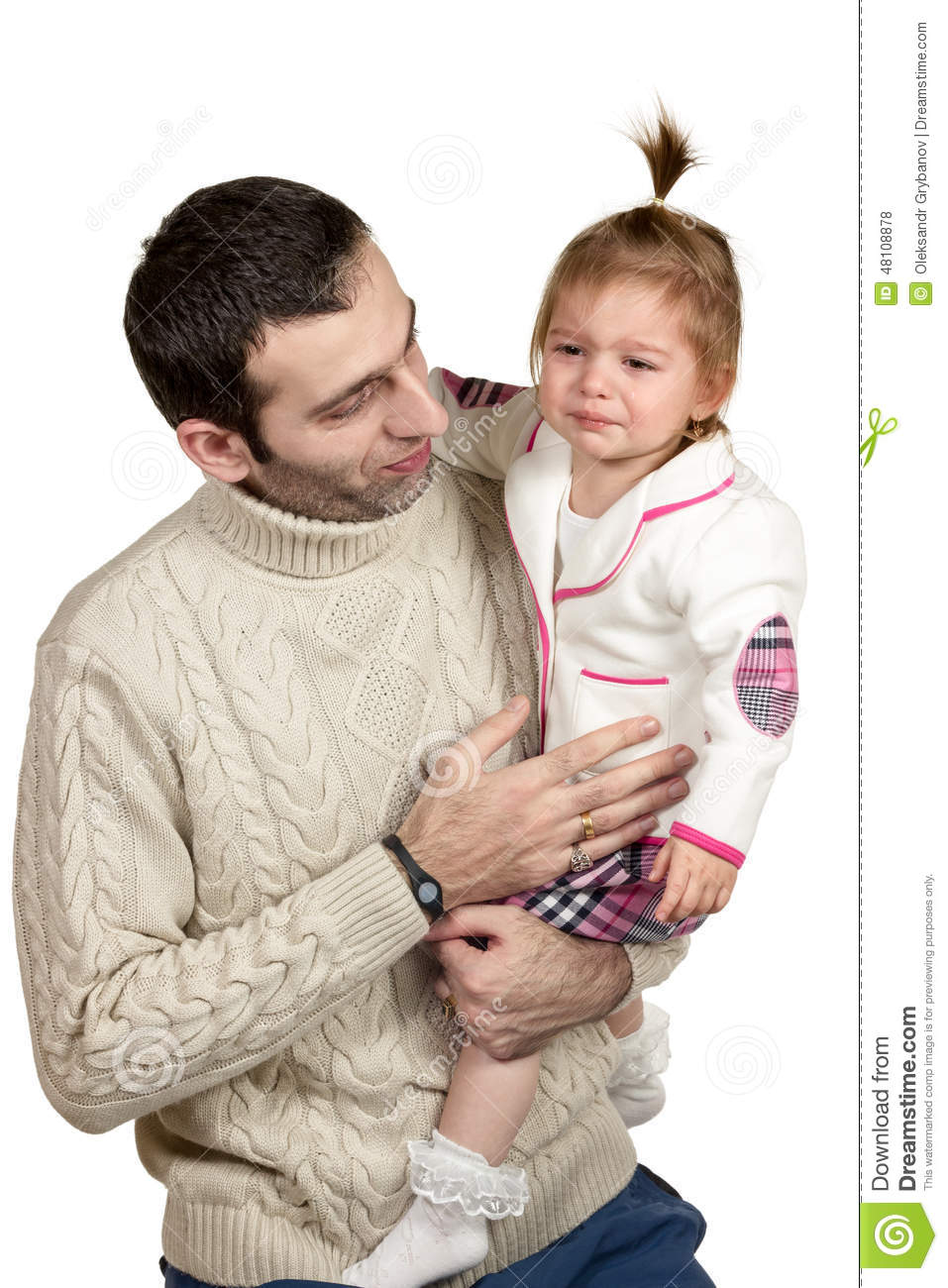 Daughter Crying At The Daddy On His Hands Stock Photo Image Of