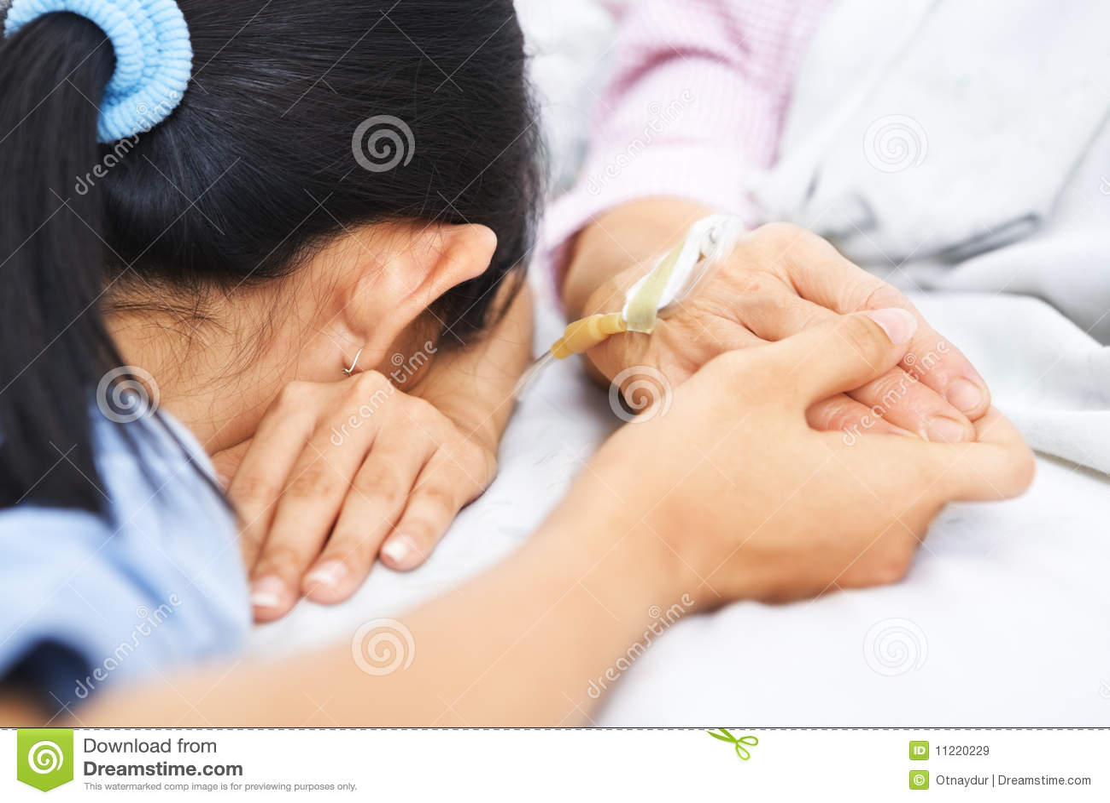 Daughter Fall Asleep Waiting Her Sick Mother Daughter Fall Asleep Waiting  Her Sick Mother Royalty Free