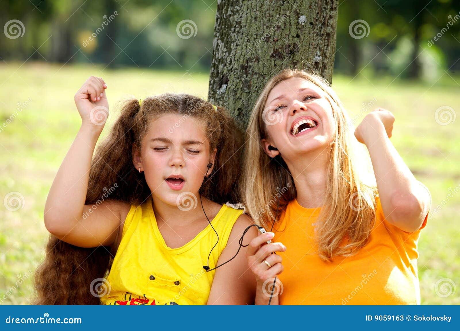 Daughter funny listening mom music