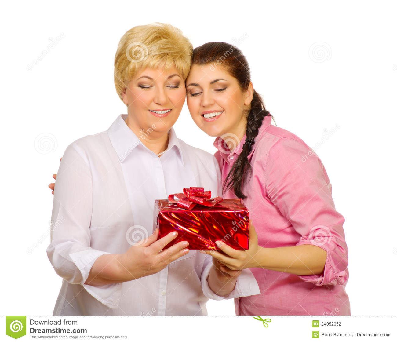 Daughter Giving Gift To Her Mother Stock Photography - Image: 24052052