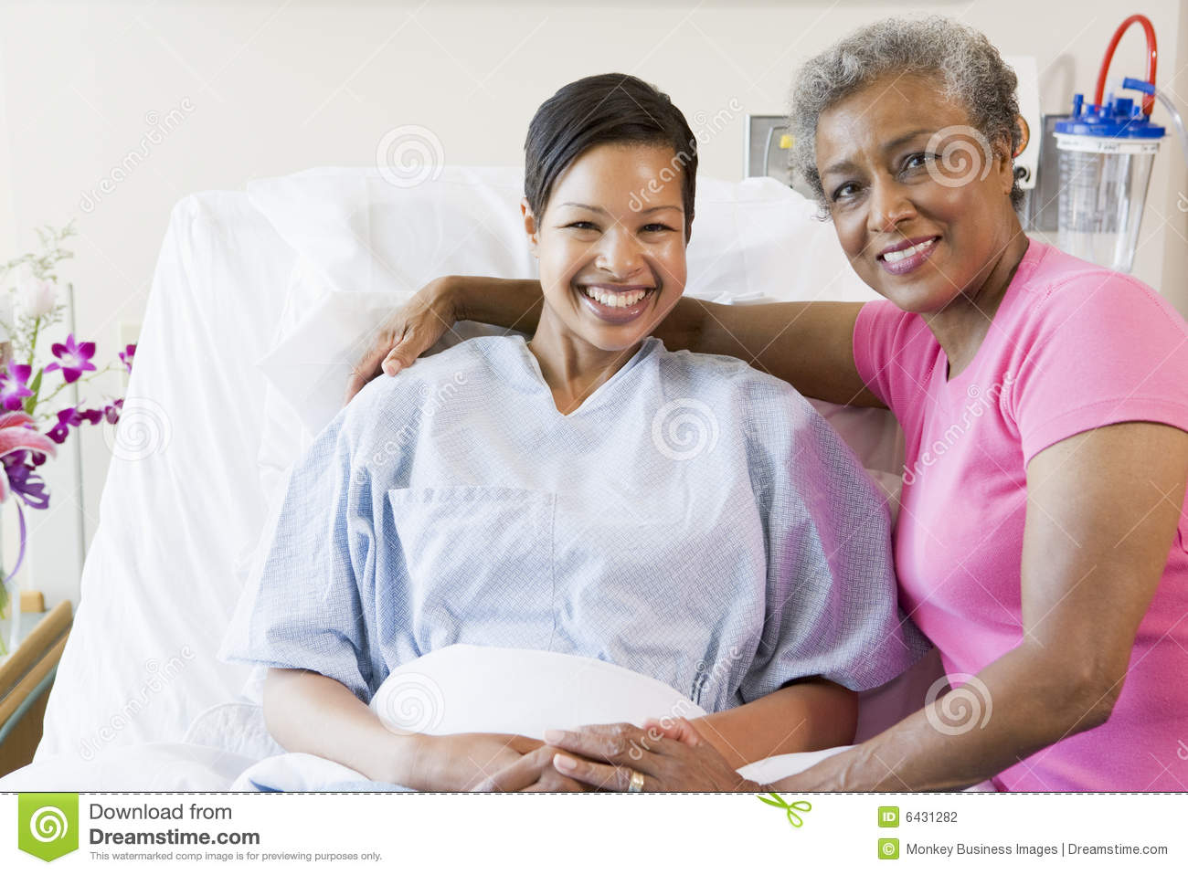 Daughter hospital mother smiling