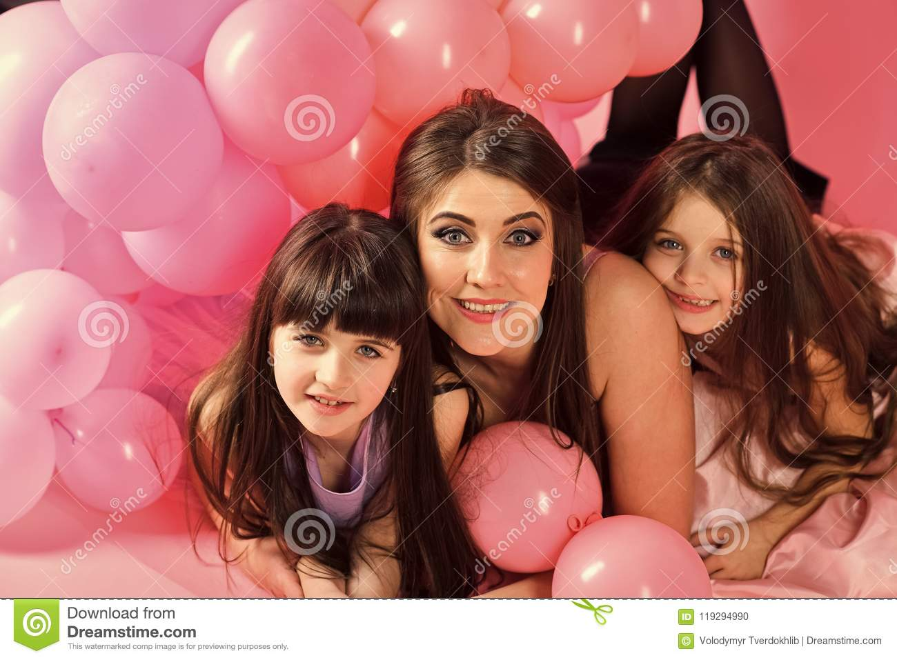 Daughter Of The Mother Little Girls Mom In Pink Balloons