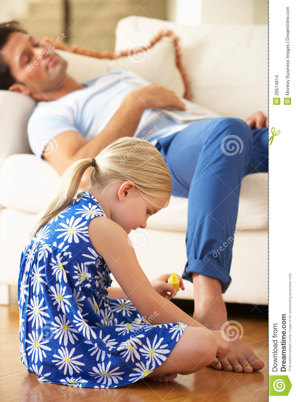 Daughter Painting Father S Toes Stock Images Image 26614814