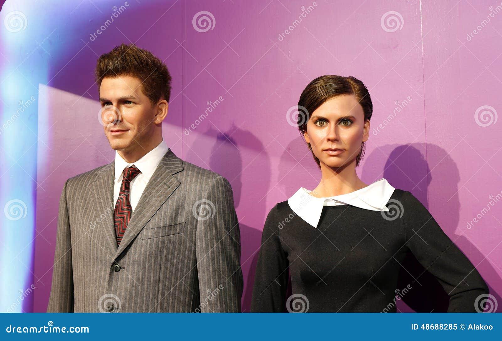 David Beckham y Victoria, estatua de la cera, figura de cera, figura de cera