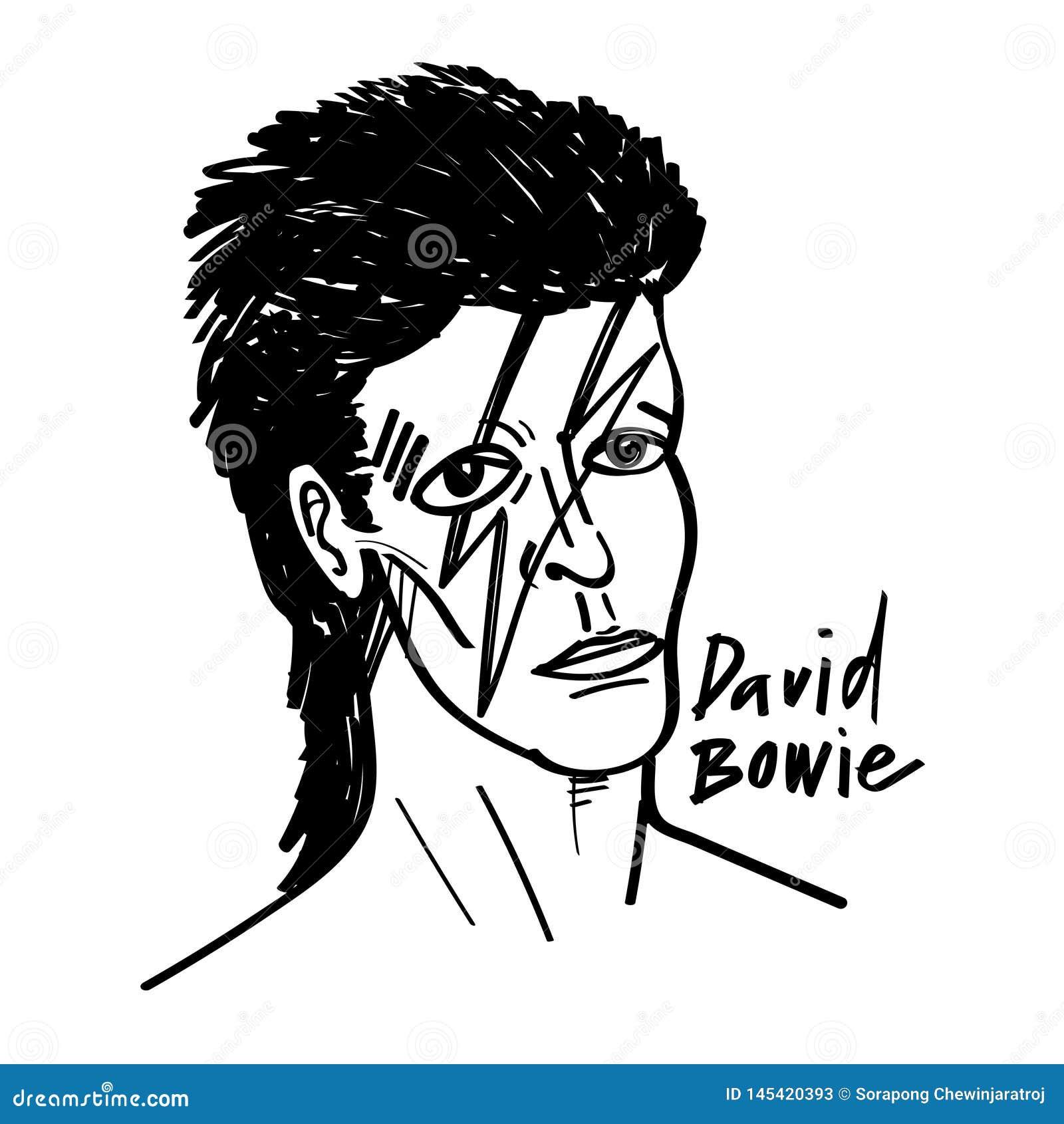 David bowie wektorowej kreskówki ilustracyjny czarny i biały rysunek