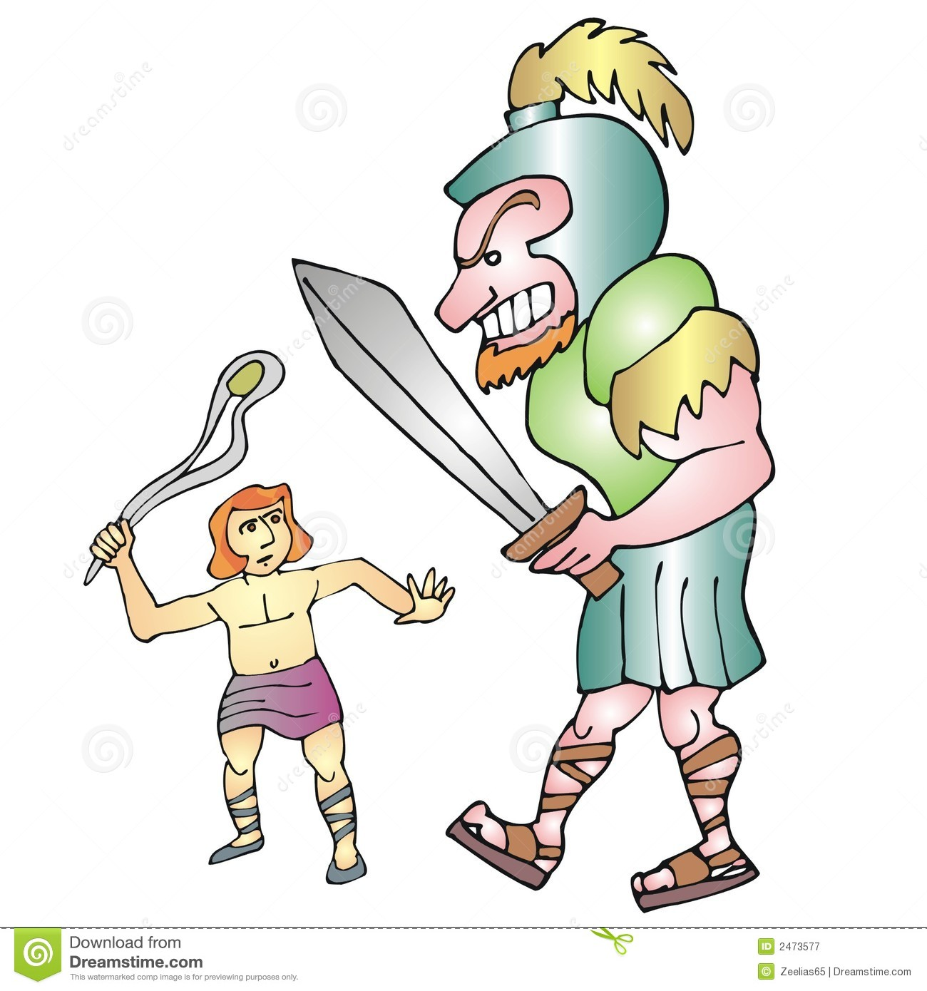 David And Goliath Stock Vector Illustration Of Battle 2473577