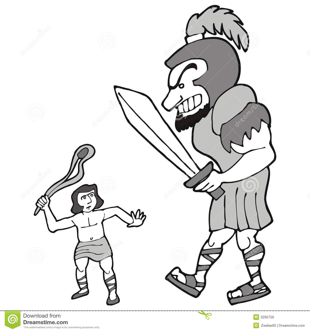 David And Goliath Stock Vector Illustration Of Sign David 3295756