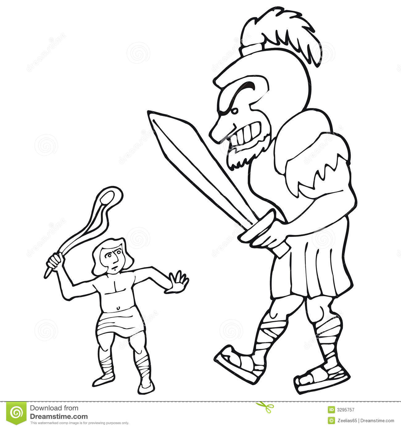 David and goliath stock vector