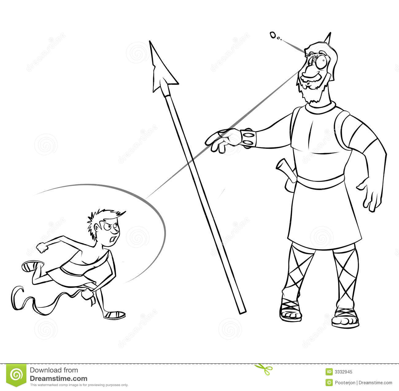 david and goliath line art royalty free stock photo image 3332945