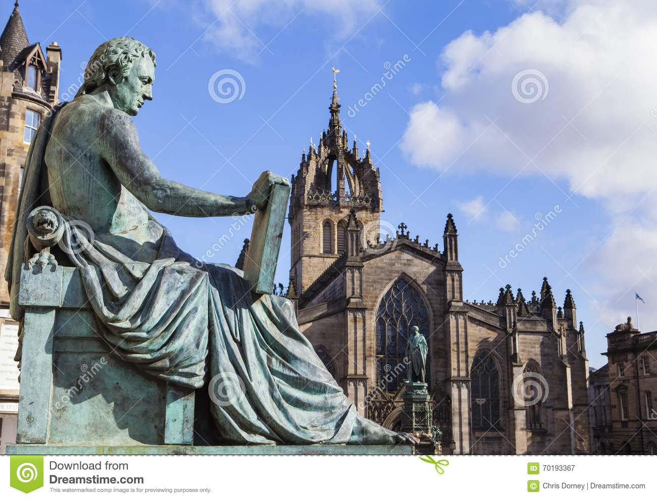 David Hume Statue and St Giles Cathedral in Edinburgh