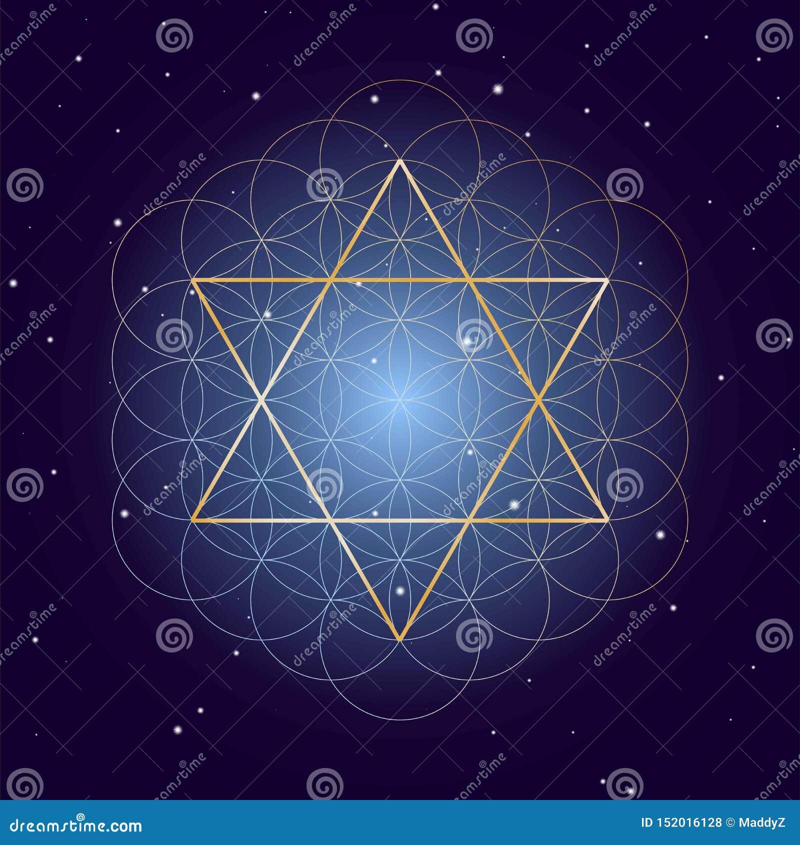 David Star mit Blume des Lebens, auf sternenklarem Himmelhintergrund, Symbole der heiligen Geometrie