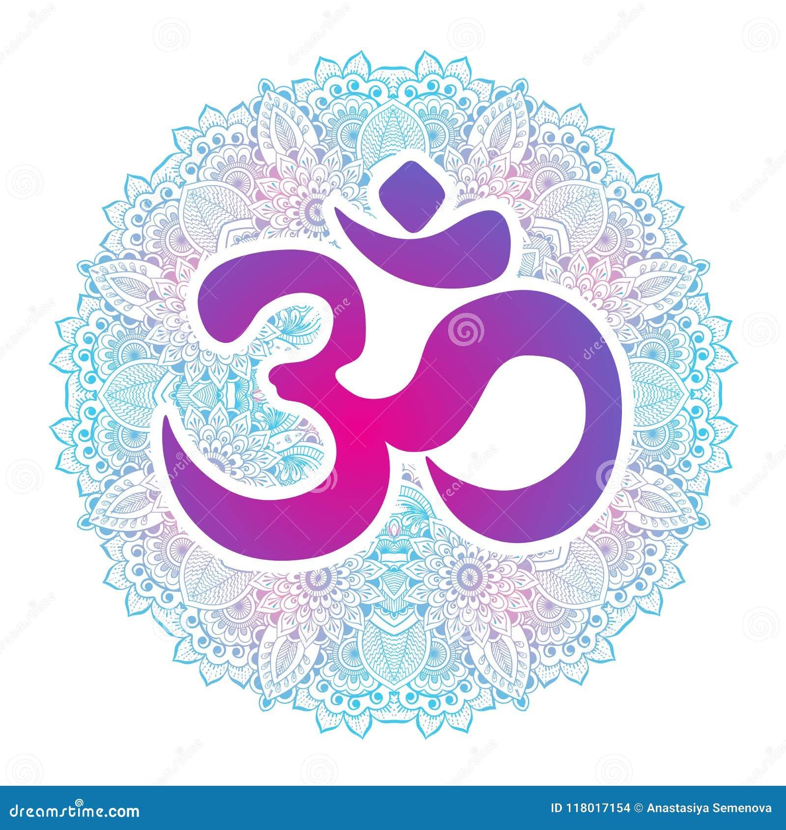 Dawali spiritual sign Om with high-detailed round Mandala. Hand drawn beautiful vector artwork. Print, tattoo element, yoga.