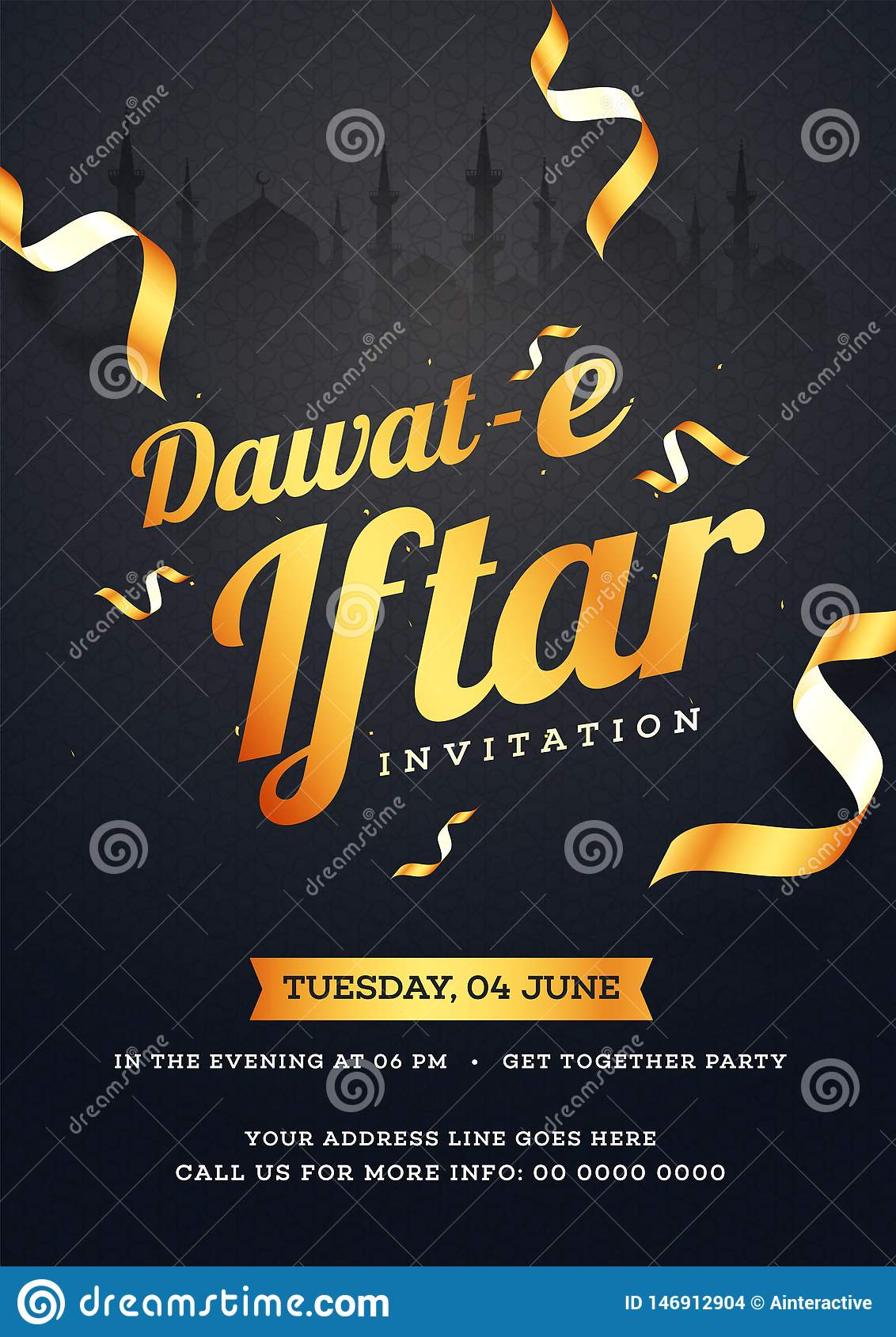 Dawat E Iftar Invitation Card Design With Date Time And