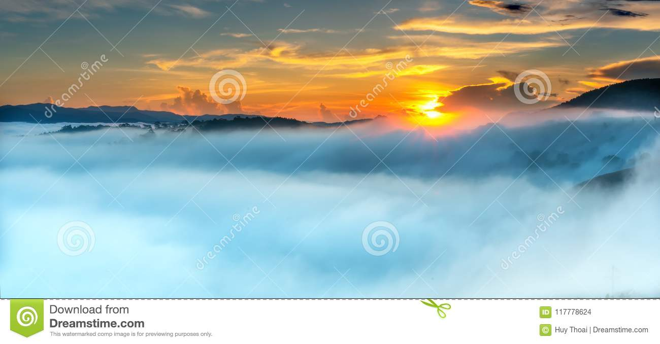 Dawn on plateau in morning with colorful sky