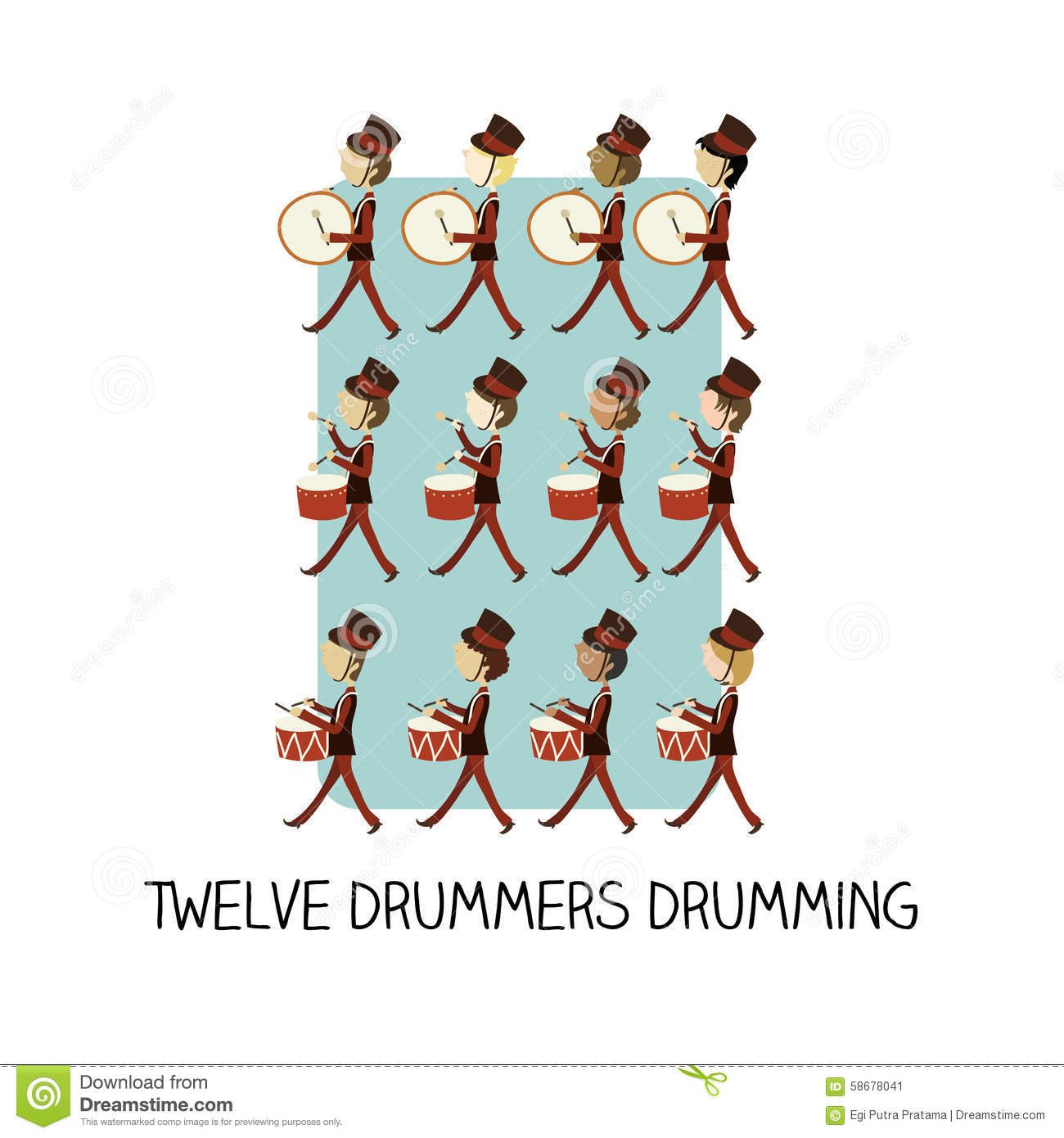 download 12 day of christmas twelve drummers drumming stock illustration illustration of flat - 12 Day Of Christmas