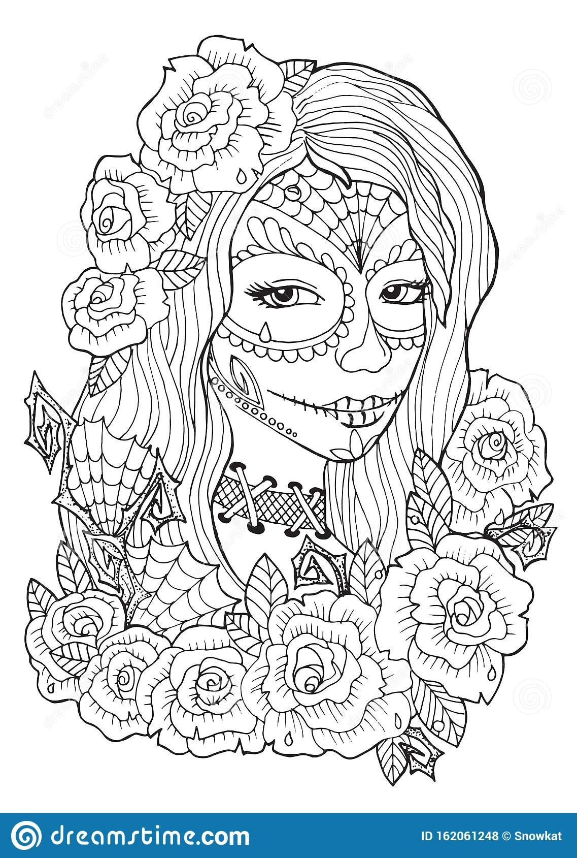 Day Of The Dead Coloring Pages For Adults Stock Vector