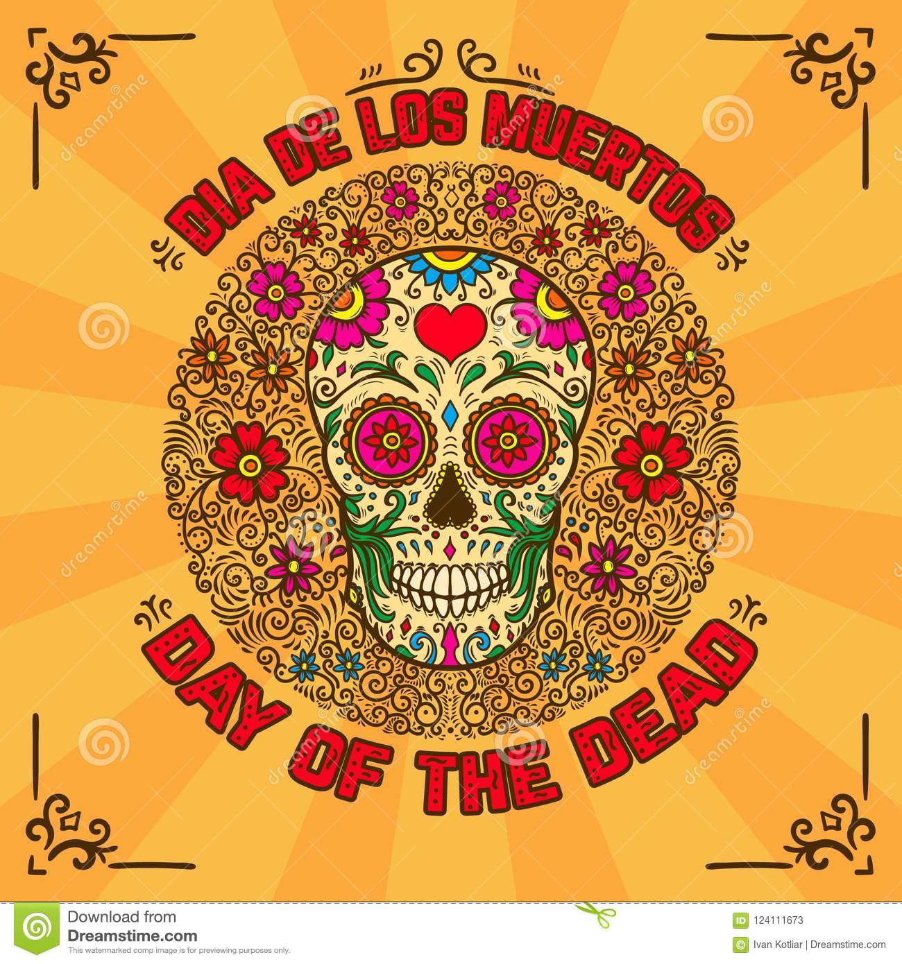 Day Of The Dead Dia De Los Muertos Banner Template With Mexican