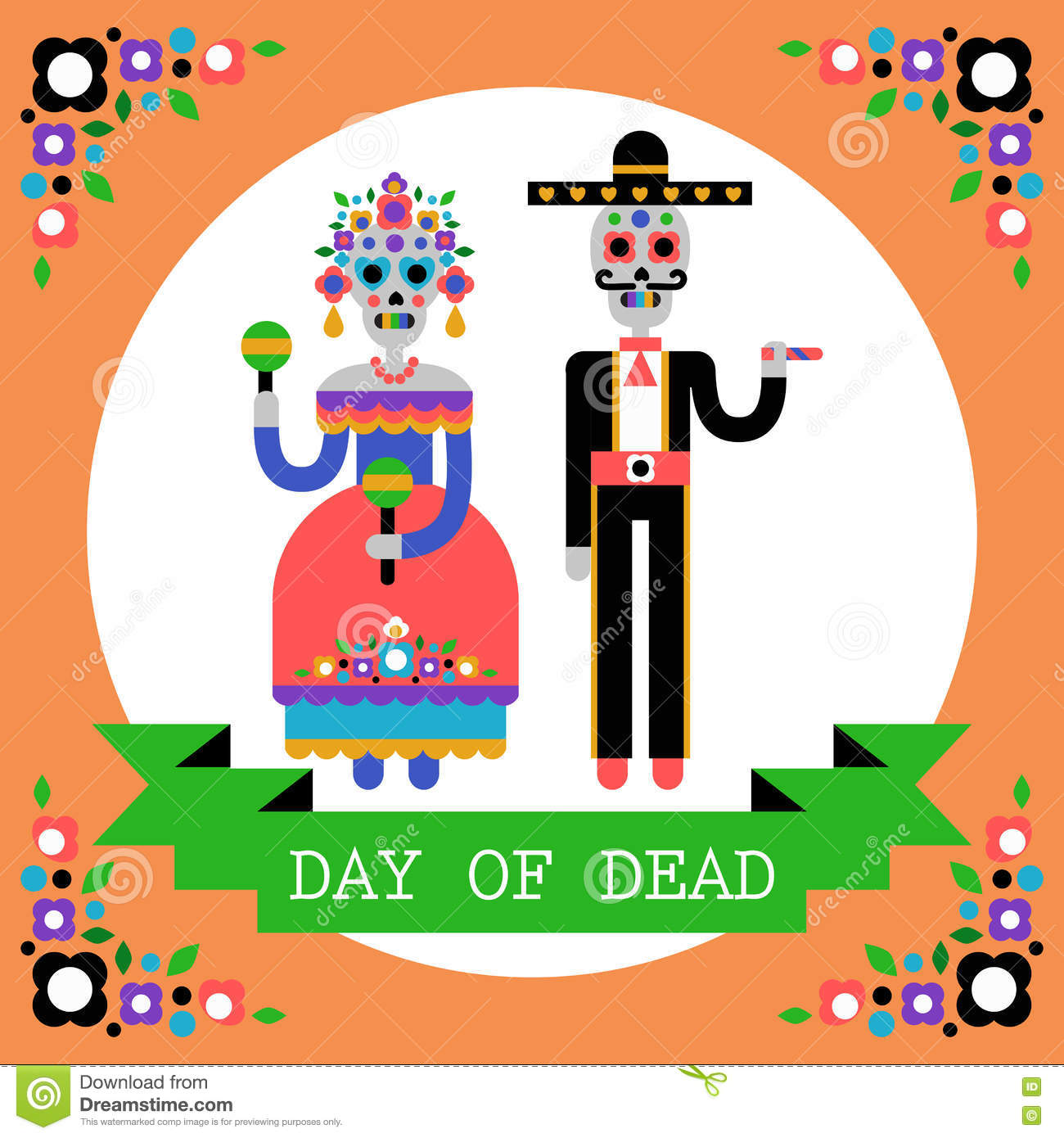 Download Day Of The Dead (Dia De Los Muertos). Mexican Holiday. Stock Vector - Illustration of banner, couple: 78262121